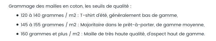 Grammage des T-shirts en coton, les seuils de qualité