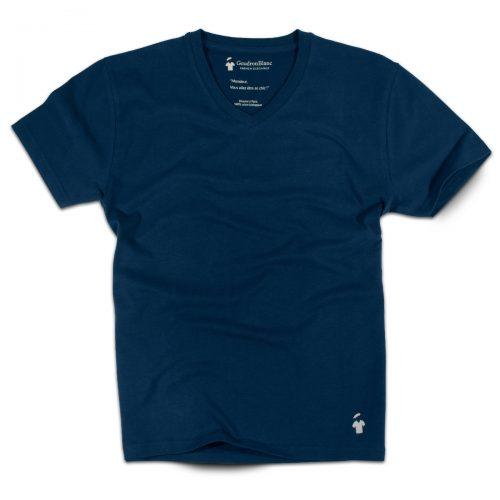T-shirt homme bleu col V