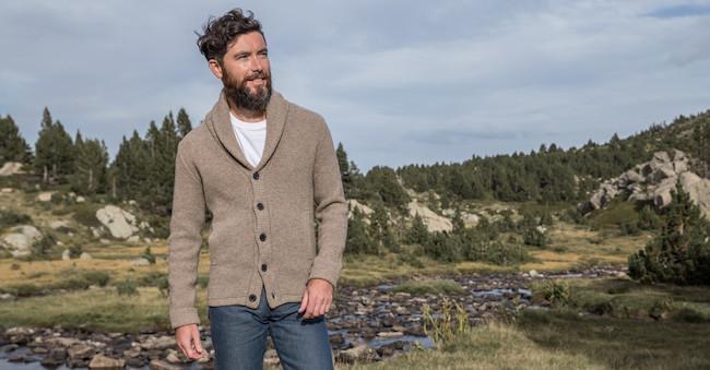 Cardigan pour homme en laine merinos et laine de yak