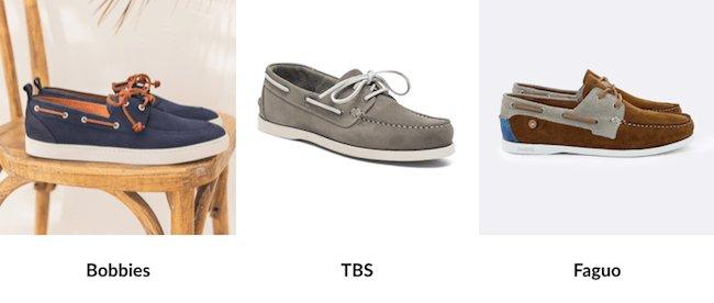 Trois interprétations de la chaussure bateau par des marques françaises