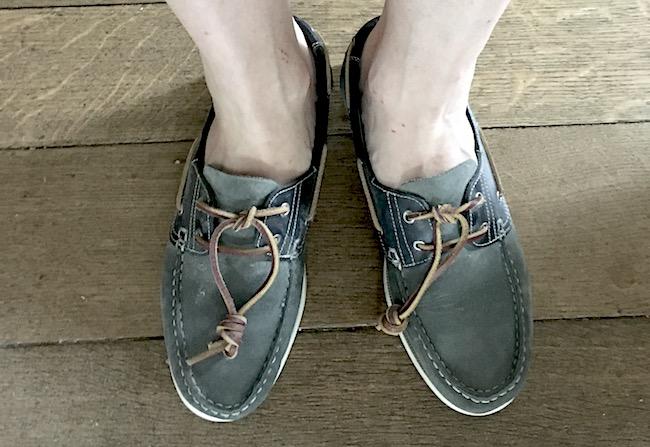 Lacets en cuir des chaussures bateau