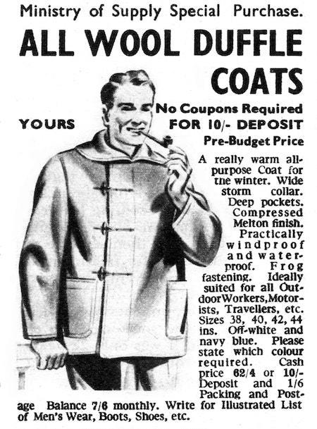 Publicité vintage pour les duffles coats en laine
