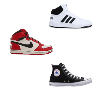 Sneakers montantes (high-tops) des marques Adidas, Nike et Converse