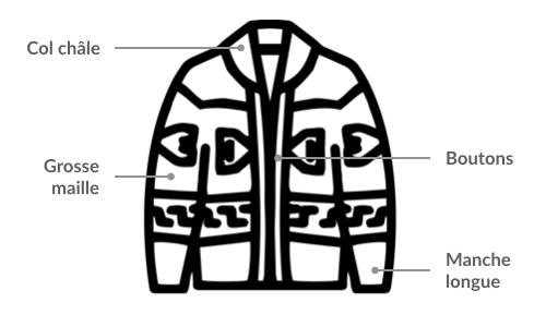 Fiche technique - Cardigan grosse maille