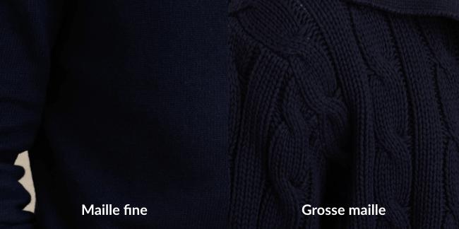 Tissu cardigan : Différence entre maille fine et grosse maille