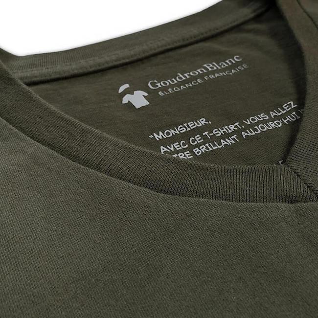 Tissu en coton bio du T-shirt GoudronBlanc