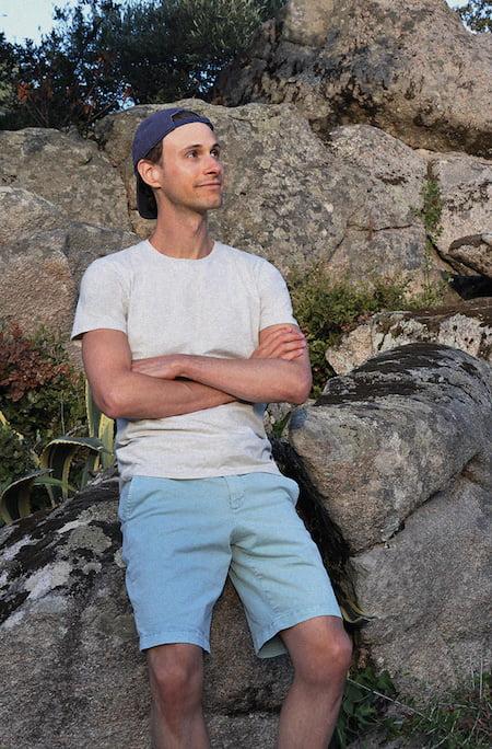 T-shirt gris sable chiné - GoudronBlanc - Short bleu ciel