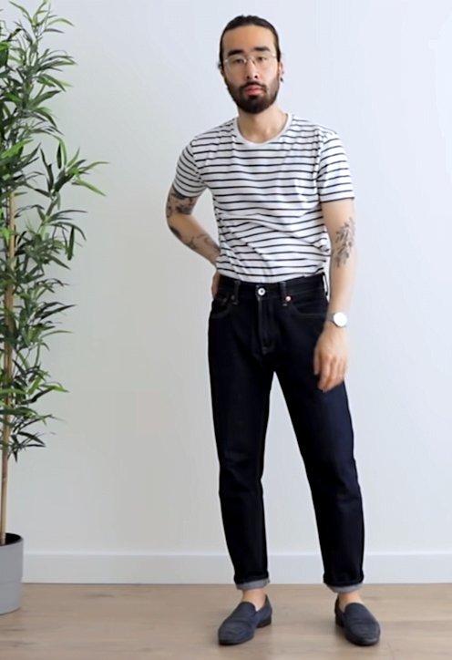 T-shirt mariniere et jean homme - GoudronBlanc