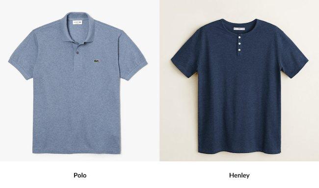 Différences entre polo et T-shirt col tunisien ou henley
