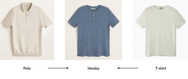 Le henley est à mi-chemin entre le polo (dont il emprunte le col) et le T-shirt (dont il emprunte la coupe et la matière)