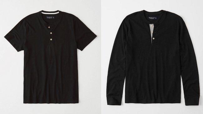 T-shirt col tunisien ou henley à manches courtes et manches longues