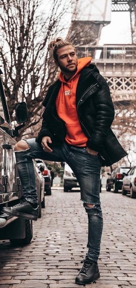 Porter pull à capuche orange - Streetwear