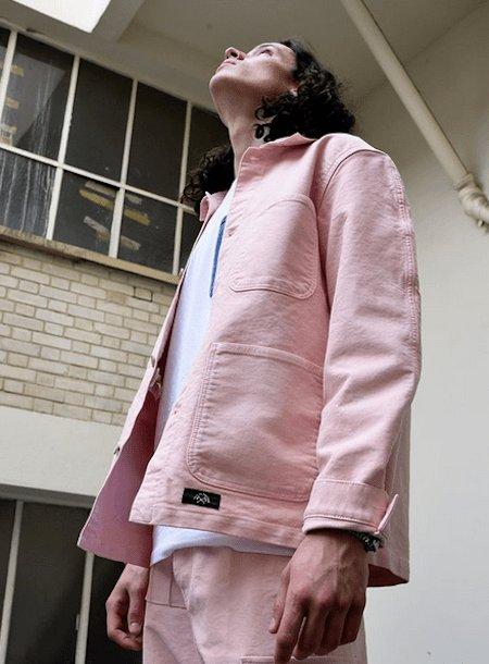 Veste de travail rose pâle - Bleu de Paname