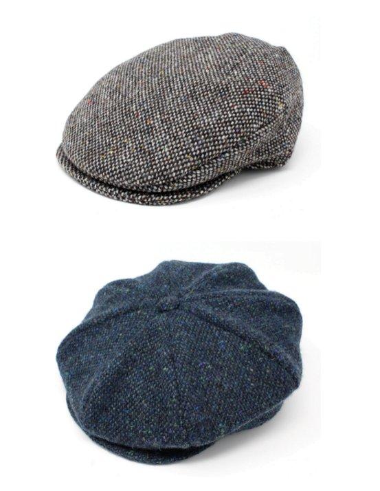Casquettes plates et gavroche de la marque Hanna Hats of Donegal