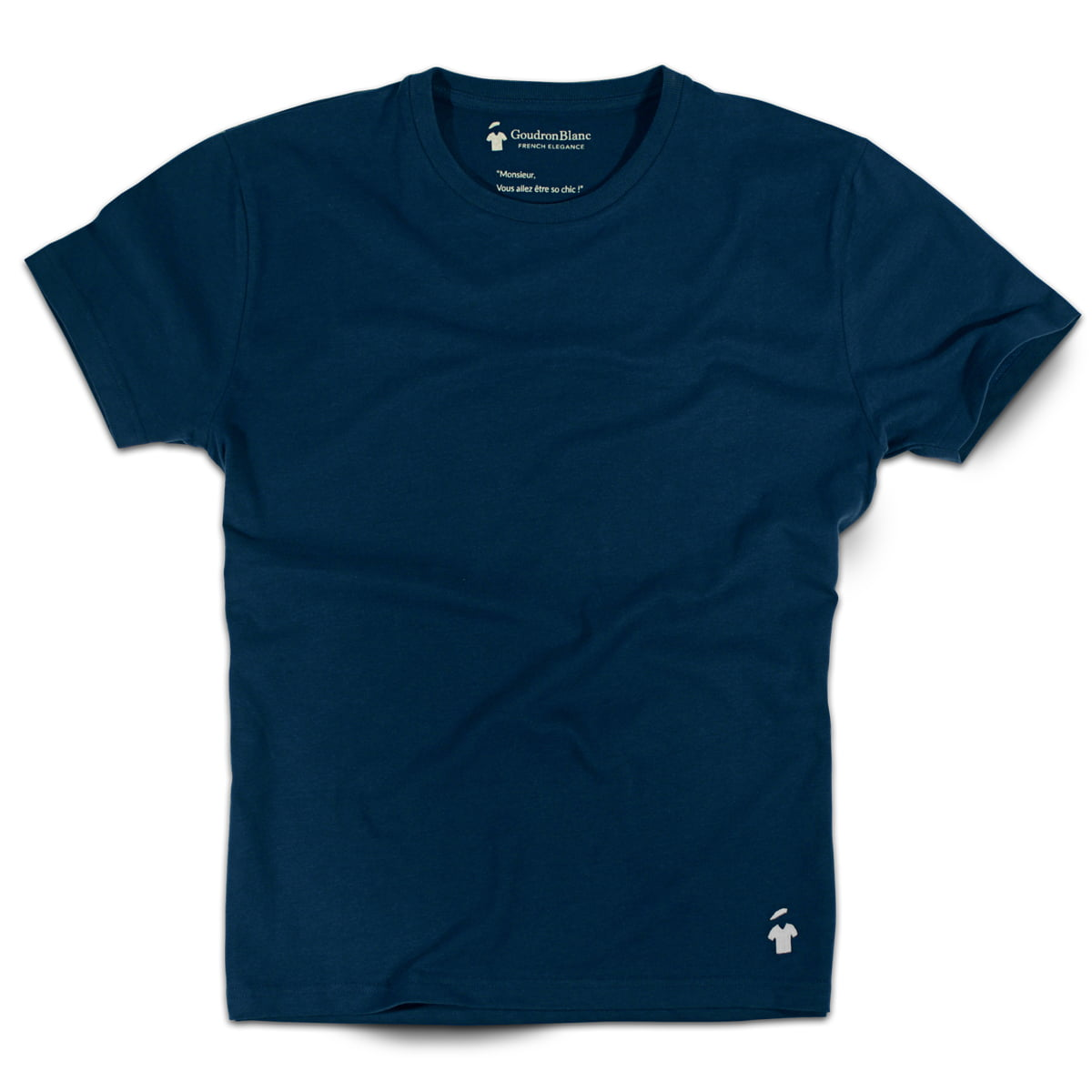 T-shirt col rond - GoudronBlanc