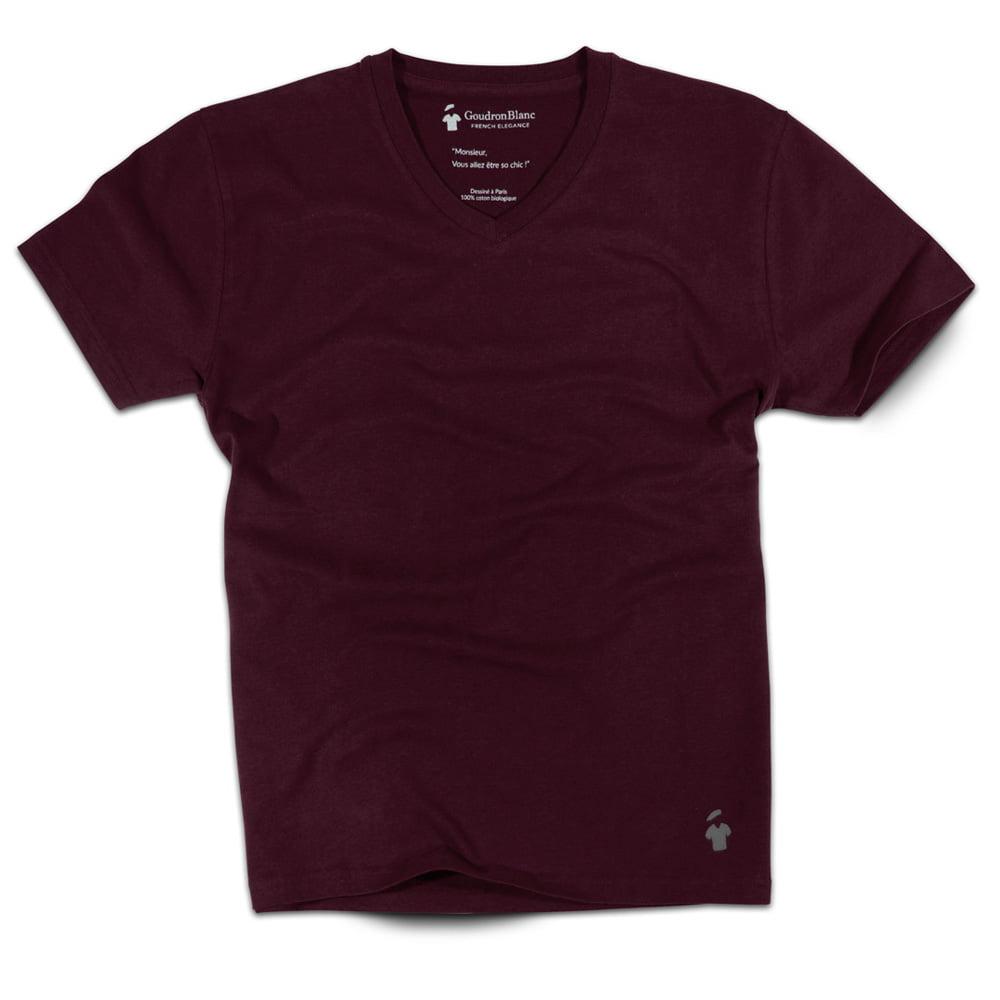 T-shirt col V - GoudronBlanc