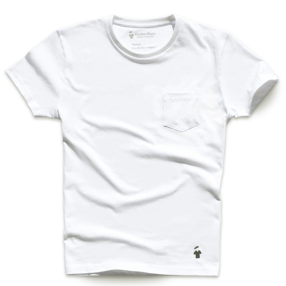T-shirt poche blanc pour homme - Marque GoudronBlanc