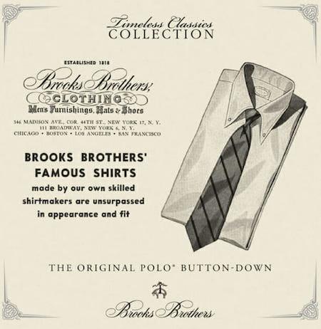 """Brooks Brothers se revendique comme étant le créateur de la """"polo shirt"""" qui illustre les premières réflexions qui ont mené à la création du polo tel qu'on le connaît aujourd'hui."""