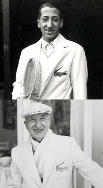 René Lacoste avec sa veste au logo représentant un crocodile
