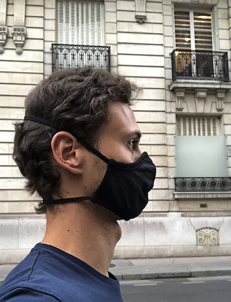 Masque tissu noir - Elastiques horizontaux sans oreille