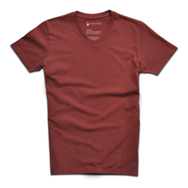 T-shirt col V GoudronBlanc de couleur rouge brique