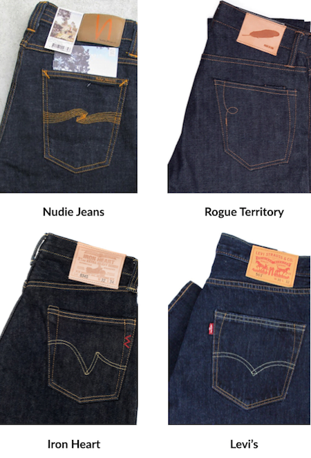 Arcuates des jeans des marques Nudies Jean, Lev's, Rogue Territory, et Iron Heart