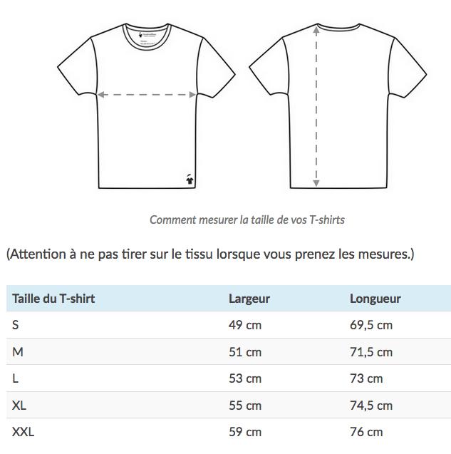 Tailles T-shirts GoudronBlanc