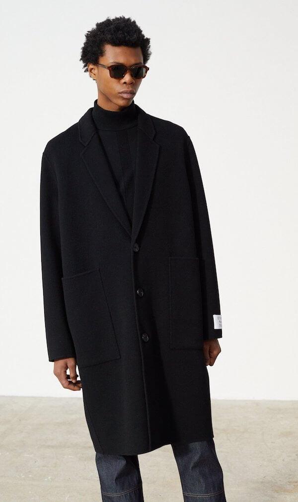 Manteau noir long homme