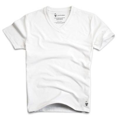 T-shirt col V blanc - GoudronBlanc