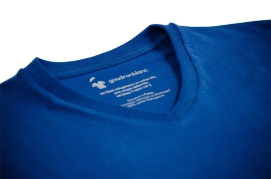 T-shirt col V bleu roi - Col V