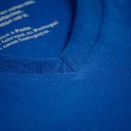 T-shirt col V bleu roi - Coton bio