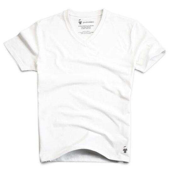 T-shirt col V blanc pour homme - GoudronBlanc