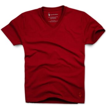 T-shirt rouge col V pour homme