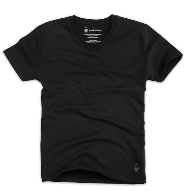 T-shirt col V noir carbonne pour homme