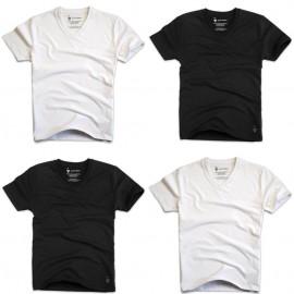 T-shirts col V blancs et noirs