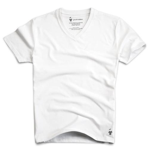 T-shirt blanc col V pour homme