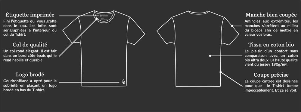 GoudronBlanc : Fiche technique du T-shirt col rond
