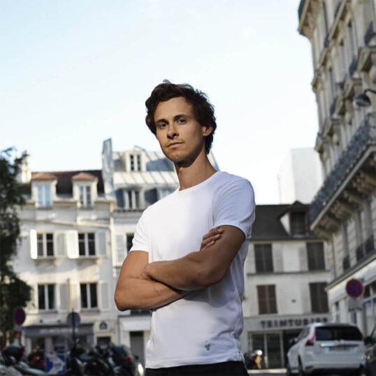 T-shirt blanc col rond - Guerric de Ternay