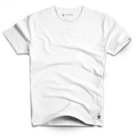 T-shirt blanc col rond de qualité pour homme