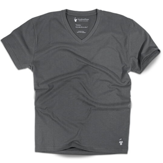 T-shirt col V gris anthracite pour homme