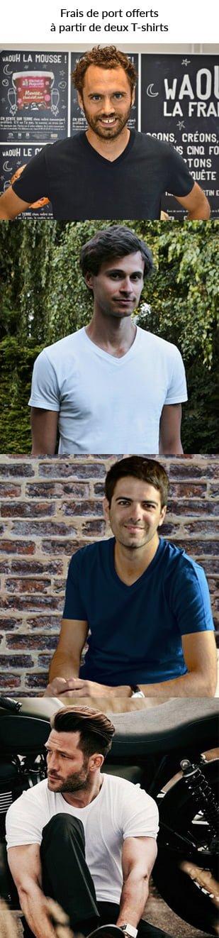 Look d'hommes portant un T-shirt col V de qualité