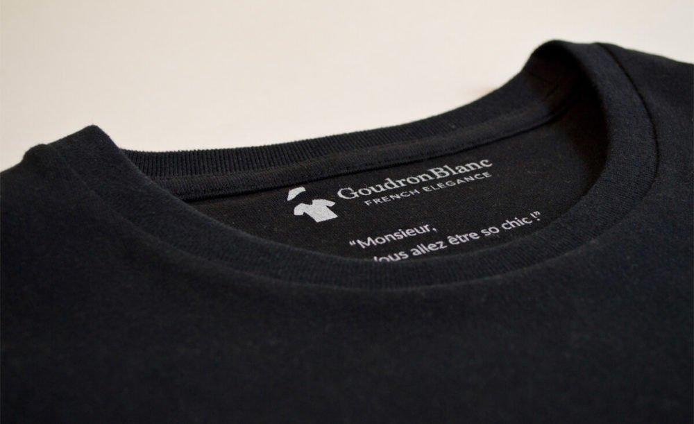 Col rond - T-shirt noir pour homme