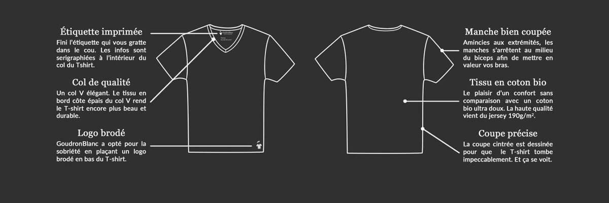 Fiche technique du T-shirt col V GoudronBlanc
