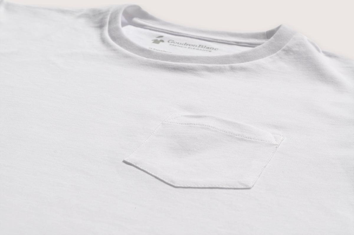 691e27e24 White Pocket T-shirt for Men - High quality - GoudronBlanc