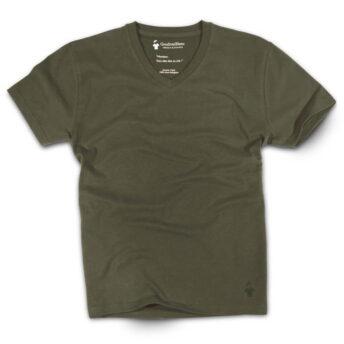 T-shirt col V kaki pour homme