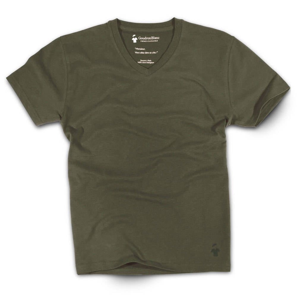 ccc35229fd9a Aviator Khaki V-neck T-shirt - High-quality   Slim fit