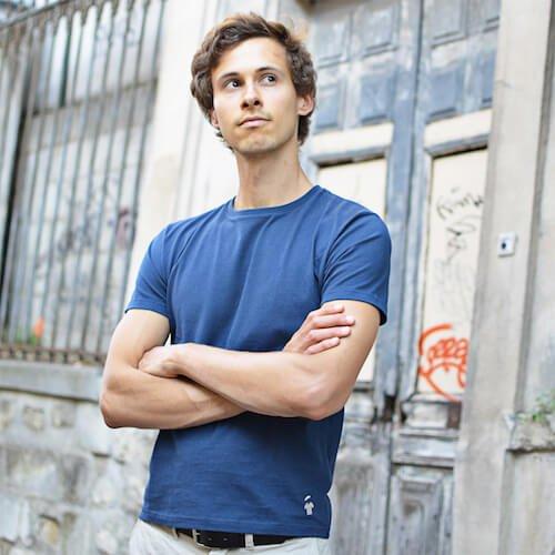 T-shirt bleu indigo pour homme - GoudronBlanc