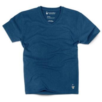 T-shirt col V bleu indigo pour homme