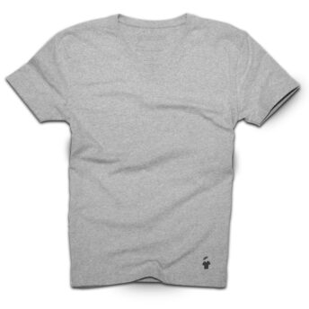 T-shirt col V gris chiné pour homme
