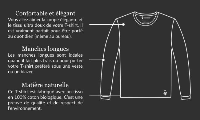 Design du T-shirt manches longues GoudronBlanc